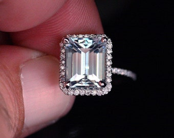 Flawless Aquamarine and Diamond Ring in 14k White Gold with Aquamarine Emerald Cut 10x8mm and Diamonds