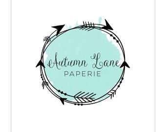 Pre-Made Logo - Premade Logo - Arrow Logo - Watercolor Logo - Modern Logo - Rustic Logo - Shabby Chic Logo