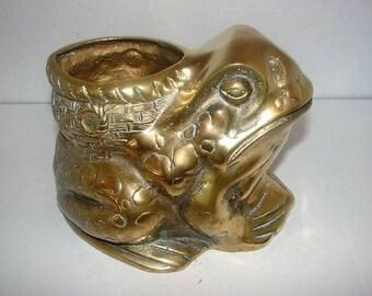 Vintage Brass Frog~Planter~Flower Pot~Brass Decor~Organizer~Container~Vase~