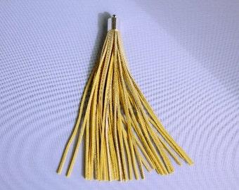 Gold Tassel, Yellow Gold Tassel, Gold Metallic Tassel, Gold Suede Tassel with bail cap (1pc)