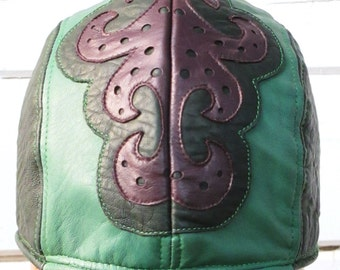 PRICE REDUCED!!!/ Green Leather Skullcap Headwrap Doorag with Purple Filligree Design on Front Unisex