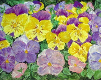 Pansy Flower Notecard or Prints, yellow and purple floral, original art, 1.50 each, blank card sets, free ship, 2 free cards on print order