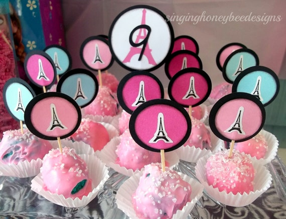 Paris cake toppers Eiffel tower cake toppers Paris birthday party