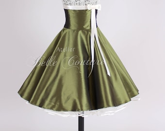 Custom Made & Handmade - 50s petticoat dress olive item: jolie olive