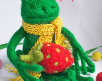 SALE SALE  Wool  frog with a strawberry, Wool toy,frog,stuffed animal,Needle Felted Frog,Birthday gift,felted animal, wool figure,green frog