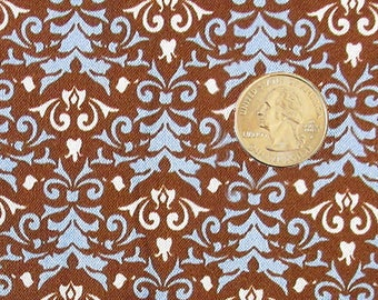 Fabric - 1-1/2 Yard - Blue on Brown - Quiltsy Destash Party