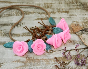 Rose necklace Clay flower jewelry Floral necklace Polymer clay summer necklace Beauty and the Beast Flower blossom Nature Gardening gift