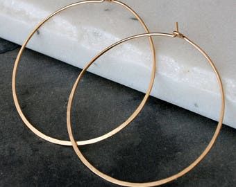 Large 14k Gold Filled Hoops, Round Classic Eternity Earrings, High Quality 14 Karat Gold Fill