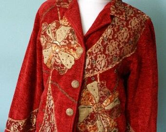 Amazing Red Vintage Jacket Blazer with Gold Ornaments 1980's Indigo Moon Germany