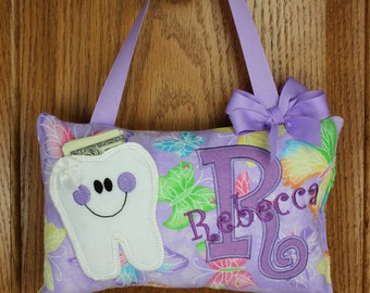 Personalized Tooth Fairy Pillow for Girl purple butterfly pattern, choose your version