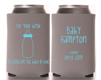 Boy Baby Shower Favors - For Your Brew to Celebrate the Baby in Blue Personalized Can Coolers, Coed Gender Reveal Party, Stubby Holders