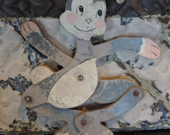 Rare Vintage Expandable bunny Wood Bunny Toy Bunny Judy Toys Mpls MN Scissor Bunny