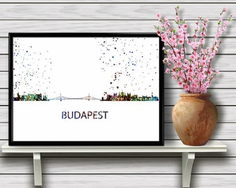 Budapest Skyline, Hungary, Colorful Watercolor City Skyline, Printable Wall Art, Travel Home Decoration, gift, Instant Download (02)