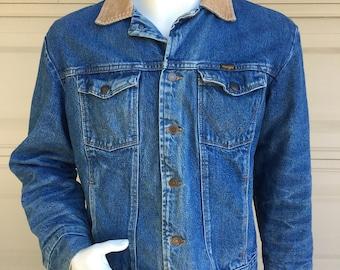 Vintage 70s 80s Wrangler Denim Trucker Jacket with Corduroy Collar Size 42