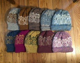 Owl hats for youth or adult, optional pom pom, hand made in the USA