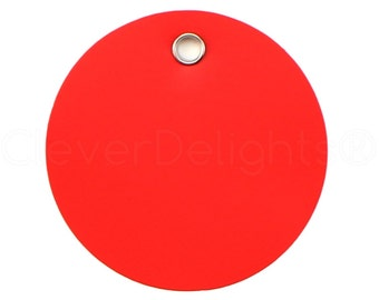 """200 Pk - 2"""" Round Red Plastic Tags - Tear-proof and Waterproof - 2 Inch Diameter - Inventory Asset ID Price Tags - 51mm"""