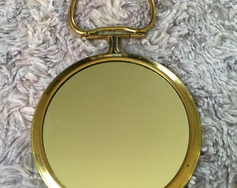 Vintage Gold Pocket Mirror with Matching Padded Case