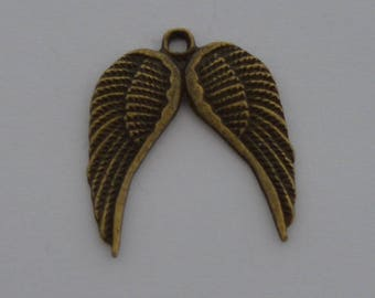 8 pair 22x19mm antique bronze wing charms
