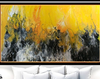 Contemporary Art, Abstract Giclee Print, Modern Art Print, Yellow Living Room Wall Art, Prints on Paper, Fine Art Prints, Office Wall Decor
