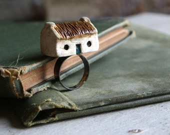 Miniature Irish Cottage Ring Hand Painted Paper Clay -- Handmade in Ireland
