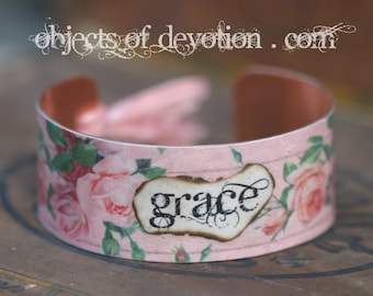 GRACE * Christian Jewelry * Religious Gift * Catholic Jewelry * Christian Gift * Religious Jewelry * Catholic Gift * Grace Bracelet * Cuff *