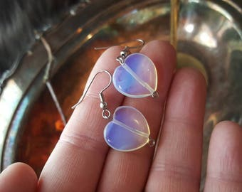 Clearance Opalite crystal hearts/Crystal opalite earrings/earrings for her/Christmas gift for mom/Yule Gifts for daughter in law/Opal Hearts