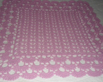 Crocheted  Baby Afghan - Blanket - Coverlet ''SHELLS GALORE''  in Lilac
