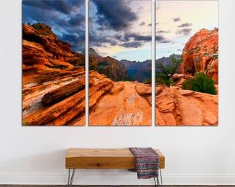 3 Panel Split wall art Canvas Print. Grand Canyon Photo, Grand Canyon Print, Arizona wall art, Landscape print  for interior design.