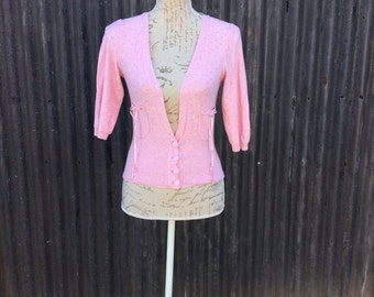 Pretty pastal pink ladies cardigan with ribbon detail