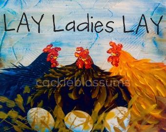 "11"" x 16"" #701 Chicken Art sign Painting hand painted Original art"