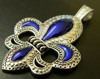 Extra Large Fleur De Lis Statement Pendant - Fleur-De-Lis Silver and Purplish Blue Antiqued Metal Pendant - Fleurdelis Metal Enamel Pendants