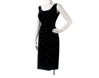 Vintage 50s Dress - 50s Black Velvet Dress - 50s Hourglass Dress - 50s Wiggle Dress - 50s Party Dress - Jerry Gilden - Black Velvet Dress