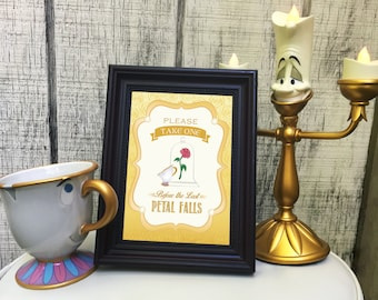 Beauty and the Beast 5x7 Party Favor Sign - Please Take One Before the Last Petal Falls *Instant Download*