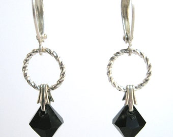 Jet Black Earrings, Swarovski Crystal Dangle Earrings, Simple Everyday Jewelry