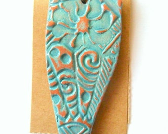 Lg. Freeform Distressed Turquoise Glazed Terra Cotta Petroglyph Pendant Finding