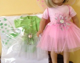 """SALE Doll Clothes Sale Ballet Tutu Skirt Leotard Fairy Wings Pink or Green fits 18"""" doll such as American Girl"""