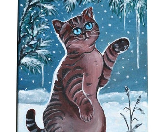 Cat Original acrylic painting on canvas - What's this?, funny animal picture cat art cats pets winter snow nature children room kids
