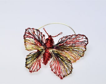 Butterfly brooch, wire sculpture art, insect, red jewelry, large brooch pin, modern hippie, nature inspired, unusual, Easter gift for women