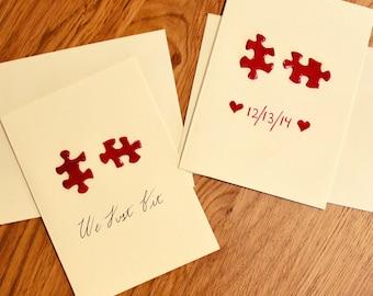 Handmade Puzzle Piece Valentines Day Card