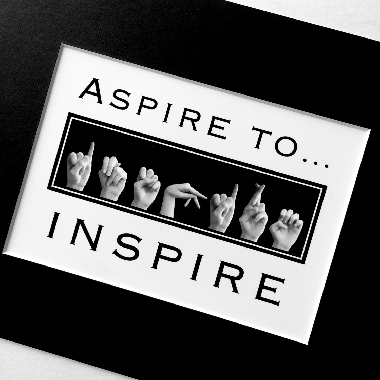 Asl Aspire To Inspire American Sign Language Letters  Black  White