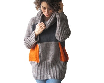 NEW! Gray & Orange Hand Knitted Sweater with Accordion Hood and Pocket Plus Size Over Size Tunic - Dress Sweater by Afra