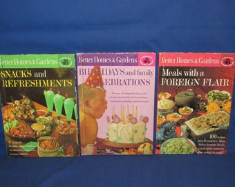 Better Homes and Gardens THREE COOKBOOKS 1963 Birthdays, Foreign Flair, Snacks and Refreshments