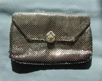 Silver Mesh Clutch  Handbag Tag Made In Germany In US Zone