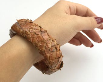 Brown Snake skin Leather Cuff,Tan Brown Leather Cuff,Snake Skin Bracelet, Luxury Bracelet, Boho Chic,Tan Leather cuff,gift for her