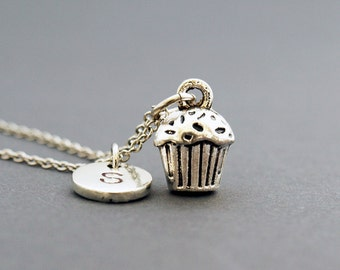Cupcake necklace, Cupcake charm, Muffin necklace, initial necklace, initial hand stamped, personalized, antique silver, monogram