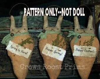 Primitive epattern-NOT DoLL Easter Rabbit Bunny headed Carrot 210e Crows Roost Prims epattern
