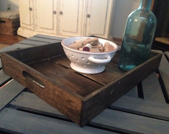 Rustic Wood Tray | Breakfast Tray | Handles | Stained Wood Tray | Serving Tray | Coffee Table Decor | Farmhouse Kitchen | Dining Table Decor