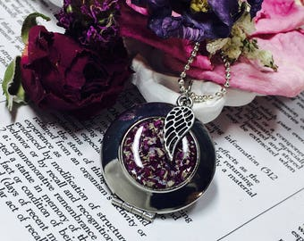 Memorial flower locket with angel wing charm & necklace made with dried funeral flowers, wedding flowers, special occasion flowers