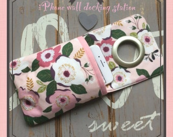Boho Floral iphone wall docking station