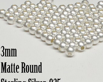 Sterling Silver Matte Round Beads, 2mm to 3mm Matte Round Beads, Seamless, 50 Pieces -
